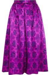 House Of Holland Dirndl Printed Satin Midi Skirt