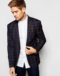 Jack And Jones Jack And Jones Premium Check Blazer With Stretch In Slim Fit Red