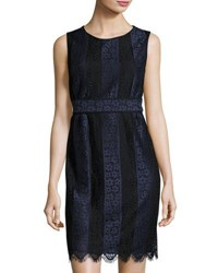 Max Studio Two Tone Lace Sheath Dress Navy Bla