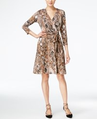 Inc International Concepts Snakeskin Print Faux Wrap Dress Only At Macy's Bronzed Camel