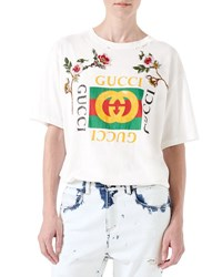 Gucci Gg Print T Shirt With Floral Patches White