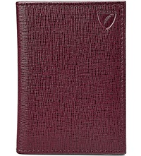 Aspinal Of London Folded Leather Credit Card Case Burgundy