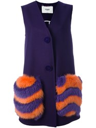 Fendi Fur Pocket Long Waistcoat Pink And Purple