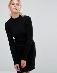 Pieces Perla Ribbed Long Sleeve Bodycon Dress Black