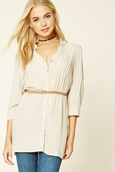Forever 21 Belted Shirt Dress Beige