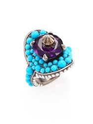 Gucci Turquoise Beaded Swarovski Crystal Cocktail Ring