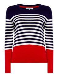 Dickins And Jones Stripe Colour Block Jumper Navy