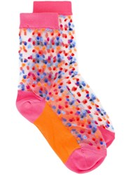 Paul Smith Sheer Polka Dot Socks Pink And Purple