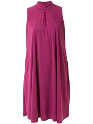 Pearl Mandarin Neck Shift Dress Pink And Purple