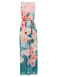 Oasis Digital Floral Maxi Dress Teal Green