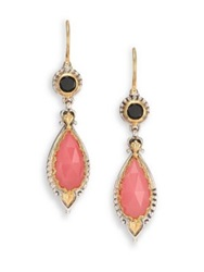 Konstantino Amphitrite Guava Agate Black Onyx 18K Yellow Gold And Sterling Silver Ornate Teardrop Earrings Gold Silver