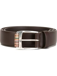 Paul Smith Multi Stripe Belt Brown