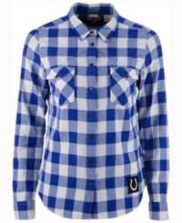 Levi's Women's Indianapolis Colts Plaid Button Up Woven Shirt Blue White