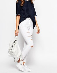Waven Anika High Rise Skinny Jean With Distressing White