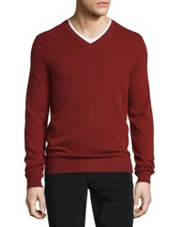 Vince Cashmere Long Sleeve V Neck Sweater Brick