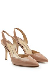 Paul Andrew Patent Leather Slingback Pumps Beige