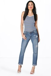 Boohoo Rise Mom Jeans With Letter Box Rip Mid Blue