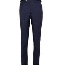 Hardy Amies Navy Slim Fit Wool And Mohair Blend Tuxedo Trousers Blue