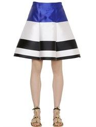 Francesco Scognamiglio Striped Techno And Silk Satin Skirt