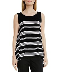 Vince Camuto Striped Asymmetric Tank Rich Black