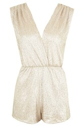 Metallic Wrap Over Playsuit By Rare Gold