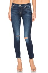 7 For All Mankind The Ankle Knee Hole Skinny Mykonos Dark Indigo 3
