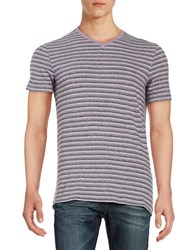 Black Brown Striped V Neck Tee Bright Violet
