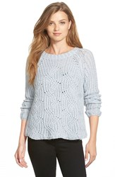 Women's Two By Vince Camuto Cable Stitch Marled Yarn Pullover Morning Sky