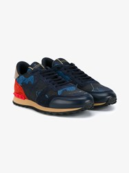 Valentino Rockrunner Camouflage Sneakers Indigo Light Blue Red Brown Almond Denim