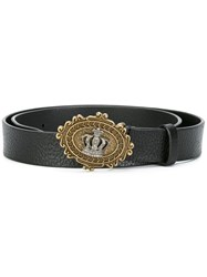 Dolce And Gabbana Crown Buckle Belt Black