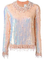 Ashish Beaded Long Sleeved Top Pink And Purple