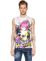 Dsquared Manga Printed Jersey Sleeveless T Shirt