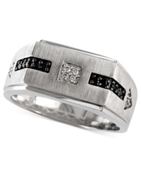 Effy Collection Gento By Effy Men's Black Diamond 1 10 Ct. T.W. And Diamond Accent Flat Top Ring In 14K White Gold