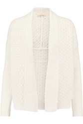 Tory Burch Cable Knit Cotton Blend Cardigan Ivory