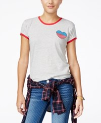 Mighty Fine Juniors' Heart Patch Graphic Ringer Tee Light Heather Grey