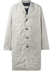 Marni Contrast Detail Creased Coat Nude And Neutrals