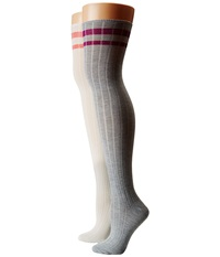 Steve Madden 2 Pack School Stripe Cuff Ribbed Over The Knee Off White Grey Heather Women's Thigh High Socks Shoes Gray