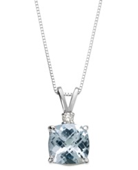 Macy's Aquamarine 1 1 3 Ct. Tw. And Diamond Accent Pendant Necklace In 14K White Gold