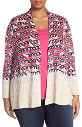 Plus Size Women's Nic Zoe 'Loop Print' Linen Blend Cardigan Multi