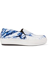 Mcq By Alexander Mcqueen Marble Effect Coated Leather Slip On Sneakers White
