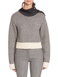 Derek Lam Oversized Turtleneck Sweater Black Ivory