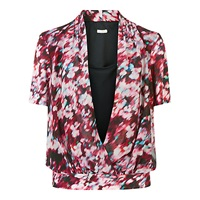 Planet Printed Wrap Front Blouse Multi Pink
