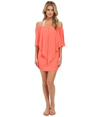 Luli Fama Cosita Buena Party Dress Cover Up Fire Coral Women's Dress Orange
