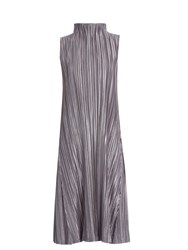 Issey Miyake High Neck Pleated Dress Grey