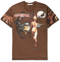 Givenchy Columbian Fit Distressed Printed Cotton Jersey T Shirt Brown