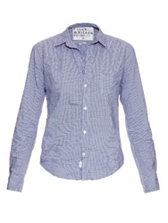 Frank And Eileen Barry Micro Check Cotton Shirt Blue White