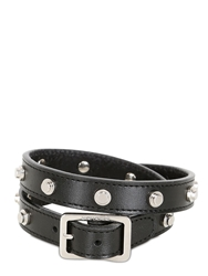 Saint Laurent Studded Leather Double Wrap Bracelet Black