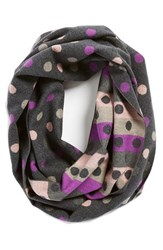 Women's Chelsey Dot Print Silk Infinity Scarf Pink Charcoal Pink