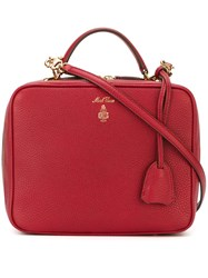 Mark Cross Removable Strap Zipped Tote Red