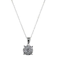 Ewa 18Ct White Gold Diamond Illusion Pendant